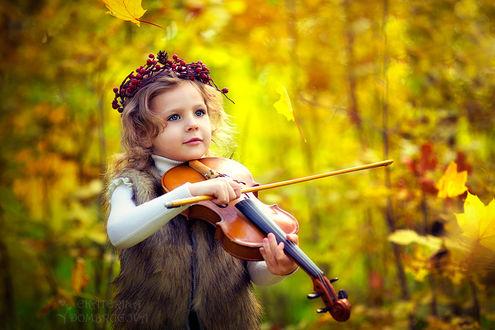 Фото Девочка в меховой жилетке и венком из ягод играет на скрипке на осеннем фоне, фотограф Екатерина Домбругова