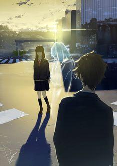 Фото Девушка и парень смотрят на призрачную девушку, которая плачет, by loundraw