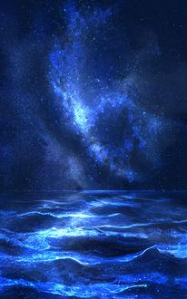 Фото Млечный путь над морскими волнами в ночном небе, by saya