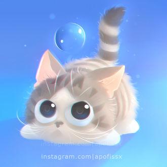 Фото Полосатый котенок смотрит на мыльный пузырь, by Apofiss