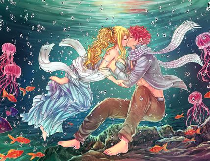 Фото Нацу Драгнил / Natsu Dragneel и Люси Хартфилия / Lucy Heartfilia из аниме Сказка о Хвосте феи / Fairy Tail, целуются под водой, by LeonS-7