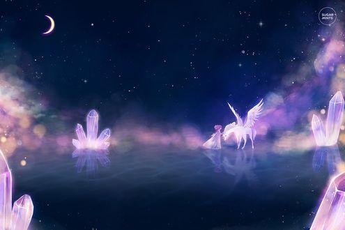 Фото Чибиуса / Chibiusa и Гелиос / Helios из аниме Сейлор Мун стоят на водной поверхности рядом с кристаллами, art by sugarmint