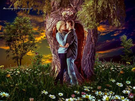 Фото Девушка целуется с парнем около старого дерева