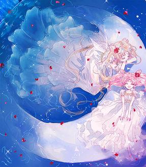 Фото Princess Serenity / Принцесса Серенити и Chibiusa / Чибиуса из аниме Сейлор Мун / Sailor Moon