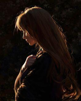 Фото Девушка с длинными волосами в профиль держит руки на груди, by GUWEIZ