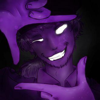 Фото Фиолетовый парень с белоснежной улыбкой и белыми зрачками, сложил пальцы рук квадратом перед своим лицом, by CountANDRA