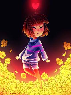 Фото Фриск / Frisk из игры Undertale на поляне среди желтых цветов, с сияющим красным сердечком над головой, by Glamist