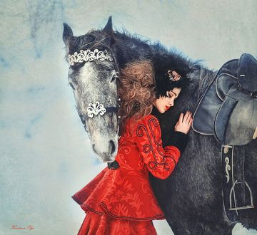 Фото Девушка в красном платье обнимает лошадь, фотограф Кравцова Ольга