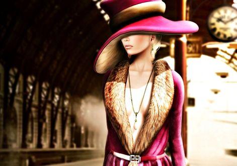Фото Девушка в большой шляпе, закрывающей глаза на стоит на вокзале