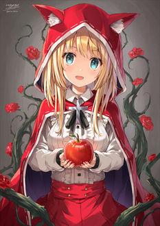 Фото Красная шапочка держит в руках красное яблоко, из сказки Red Riding Hood / Красная шапочка, образ в стиле манги, by Nikkunemu