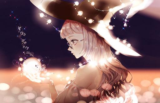 Фото Ведьмочка в очках держит на руке маленькое привидение, by Pixiv Id 1443093 (You are not alone / Ты не одинок)