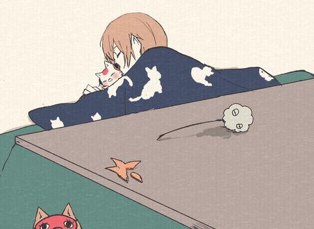 Фото Кагура / Kagura и Okita Sougo / Окита Соуго спят вместе из аниме Гинтама / Gintama, by Pixiv Id 3436452