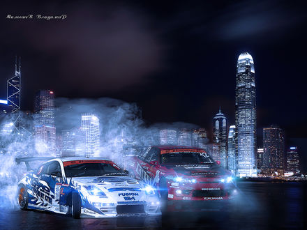 Фото Гонки на автомобилях в ночном городе