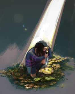 Фото Мальчик склонился на кинжалом под лучом света, by kohiu