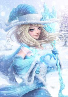Фото Светловолосая девушка в голубой одежде держит посох и хрустальный шар на фоне снега, by DigiFlohw