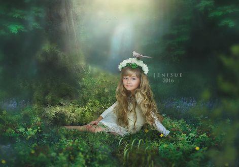 Фото Красивая девочка с венком на голове из цветов и с птичкой на голове сидит на фоне леса, by Jeni-Sue