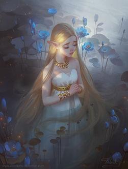 Фото Светловолосая эльфийка в белом платье с золотыми украшениями стоит в воде в окружении голубых кувшинок, by Viccolatte
