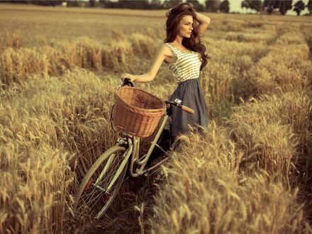 Фото Девушка с велосипедом стоит в поле