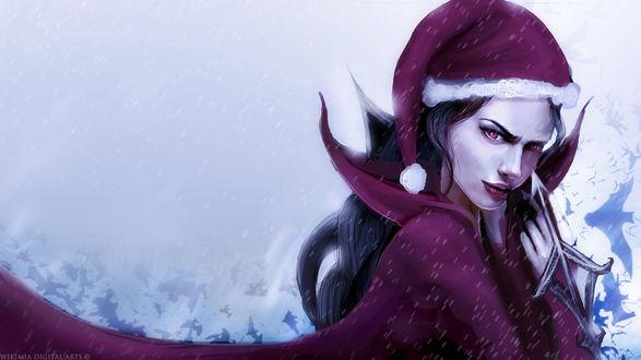 Фото Темноволосая девушка в красном костюме Санта-Клауса, by WikiMia