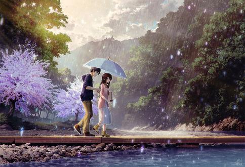 Фото Парень с девушкой под зонтом идут по мосту