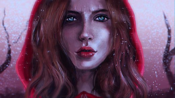 Фото Портрет рыжеволосой девушки с голубыми глазами, by WikiMia