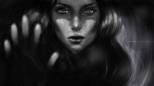 Фото Черное-белый портрет девушки, by WikiMia