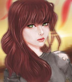 Фото Зеленоглазая и рыжеволосая девушка, by WikiMia