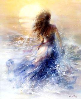 Фото Девушка в морской волне, художник. Willem Haenraets