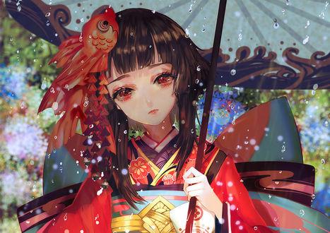 Фото Девушка с зонтом стоит под дождем, by asml30