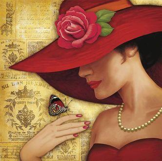 Фото Девушка в красной шляпе с бабочкой на руке