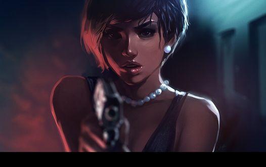 Фото Девушка с пистолетом, by tsuaii