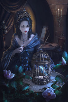 Фото Девушка в короне сидит у клетки с попугаем, by Incantata