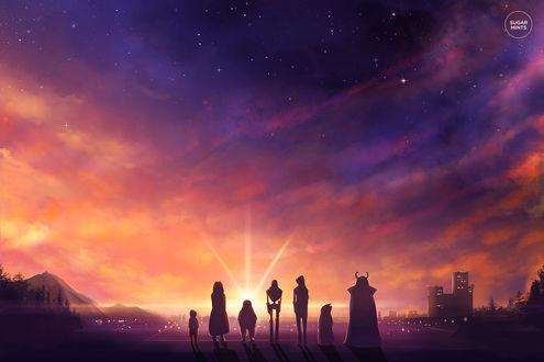 Фото Персонажи из игры Undertale любуются закатом, by sugarmints