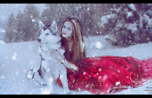 Фото Девушка - модель Аделаида Антонова с собакой на снегу, by Nikulina-Helena