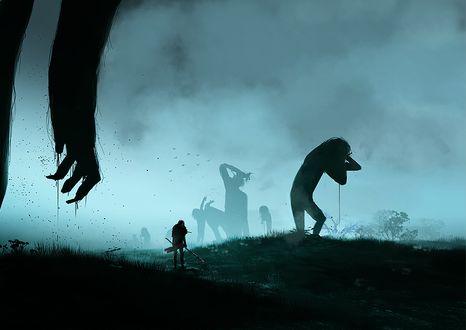 Фото Леви Райвель (Ривай) / Levi Rivaille (Rivai) среди гигантов в тумане из аниме Shingeki no Kyojin / Атака Титанов