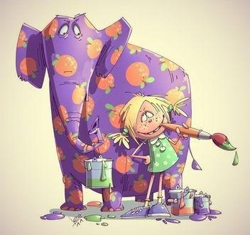 Фото Девочка на фоне с кистью и красками на фоне фиолетового слона