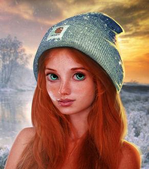 Фото Девушка в вязанной шапочке, by eZeeD