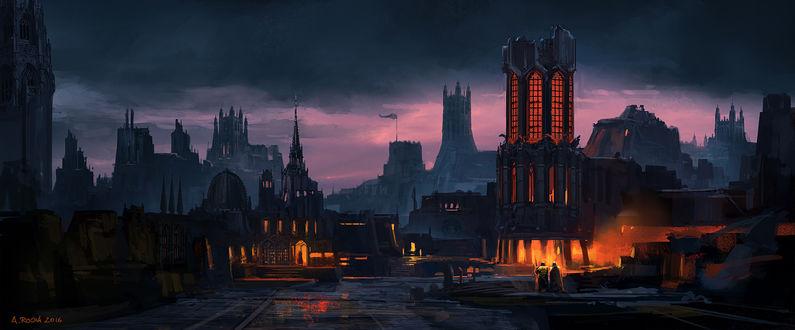 Фото Замки в готическом стиле на закате, яркий свет из окон, два монаха на дороге