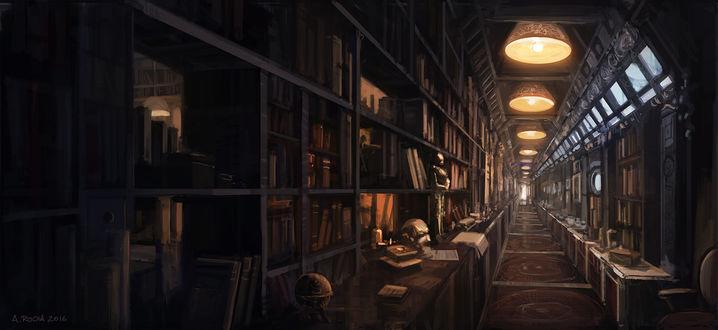 Фото Большая старая библиотека, уходящая вдаль