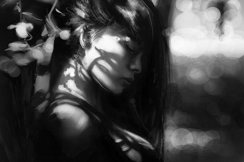 Фото Черно-белый портрет девушки стоящая в профиль с закрытыми глазами, by Renevatia