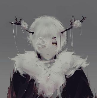Фото Белокурый парень, из головы которого растут ветки с белыми розами, by Aoi Ogata