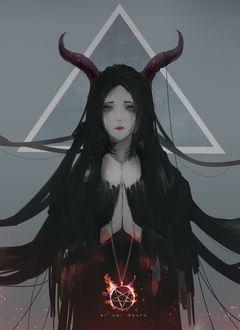 Фото Плачущая девушка-демон с горящей пентаграммой, by Aoi Ogata