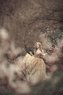 Фото Девушка красивая стоит в весеннем цветении природы в пышном платье, держа в руке книгу с легкой улыбкой, смотря мечтательно вдаль