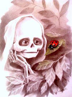 Фото Девочка-Смерть по имени Белая и божья коровка, художник Сергей Загаровский