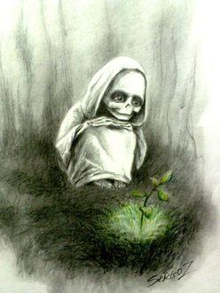 Фото Девочка-Смерть по имени Белая любуется ростком, художник Сергей Загаровский