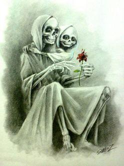 Фото Девочка-смерть по имени Белая и красный цветок, художник Сергей Загаровский