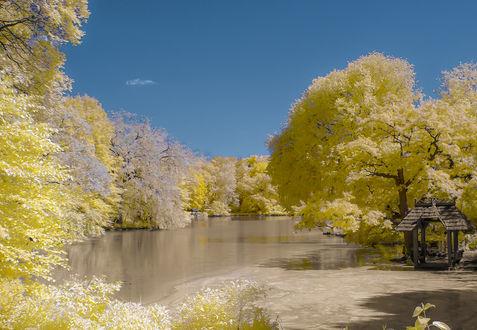 Фото Очень красивый пейзаж в песочно-желтоватых тонах, небольшая речушка среди нежных деревьев, на берегу небольшое строение
