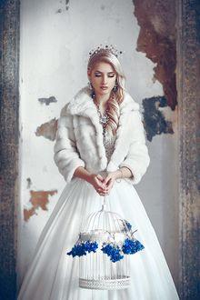 Фото Девушка в белом и короне на голове, с клеткой в руках, фотограф Руслан Болгов (Axe)
