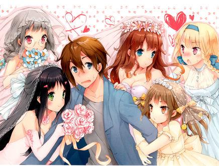 Фото Растерянный парень в окружении пяти невест из манги Kono Nako ni, art by CUTEG