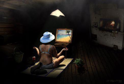 Фото Девушка медитирует перед картиной, на которой изображены море пальма и песок